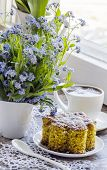picture of eat me  - Polenta cake with cup of Coffee - JPG