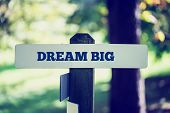 stock photo of daring  - Old rustic signpost with the phrase Dream big outdoors in sunny woodland with a faded vintage or retro effect to the image - JPG