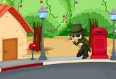 foto of crime solving  - Illustration of a detective at the road with a magnifying lens - JPG