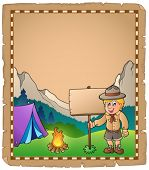 stock photo of boy scout  - Parchment with scout boy and board  - JPG