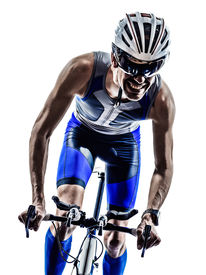 stock photo of biker  - man triathlon iron man athlete bikers cyclists bicycling biking  in silhouettes on white background - JPG