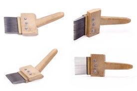 pic of handloom  - The carpet weaving loom tool on a white background - JPG