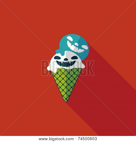 Halloween Ice Cream Flat Icon With Long Shadow