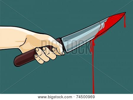Hand with a blooded knife