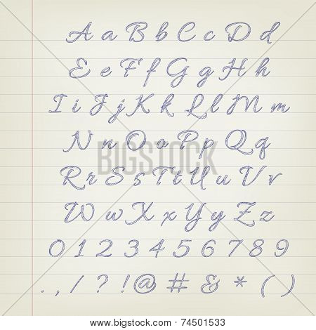 Vector Pen Sketched Alphabet