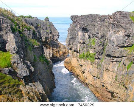 Pancake Rocks At Punakaiki, West Coast Of South Island, New Zealand