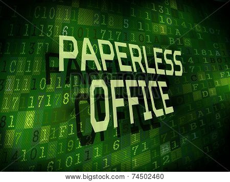Paperless Office Words Isolated On Digital Background