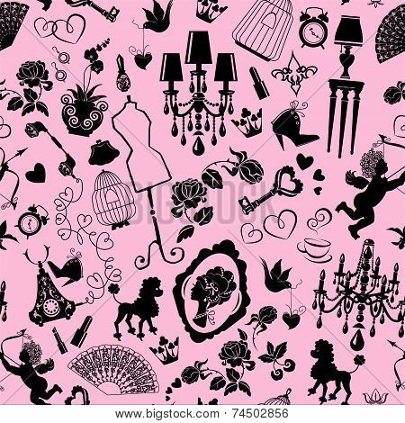 Seamless Pattern With Glamour Accessories, Furniture, Girl Portrait And Dogs - Black Silhouettes On