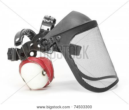 Protective face shield isolated on white background.