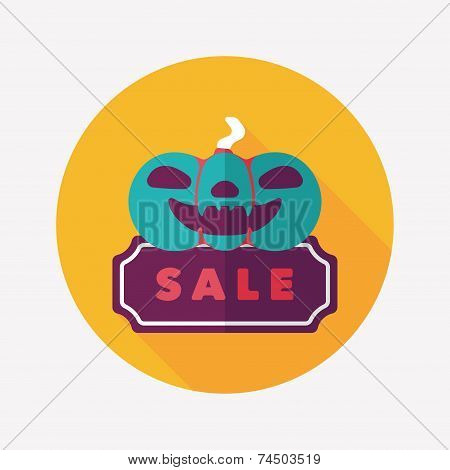 Halloween Sale Flat Icon With Long Shadow,eps10