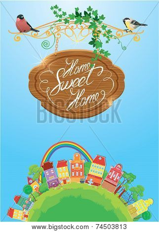 Decorative Colorful Houses, Trees, Rainbow And Birds On Sky Background, Spring Or Summer Season. Car