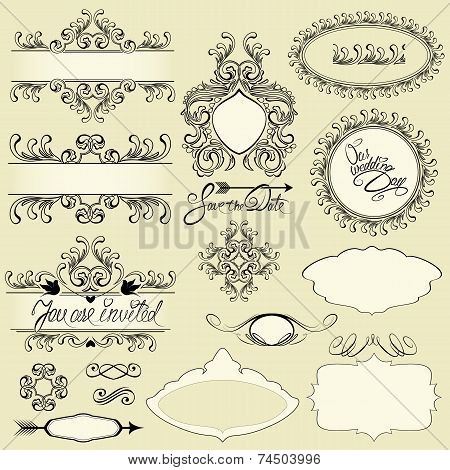 Vector Vintage Ornaments And Frames, Vignettes, Calligraphic Design Elements And Page Decoration, Ca