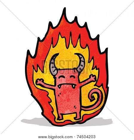 cartoon flaming little imp