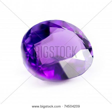 Closeup Of Natural Purple Amethyst Gemstone