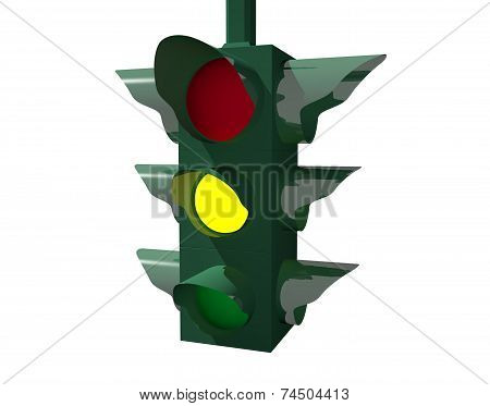 Yellow traffic light carefully