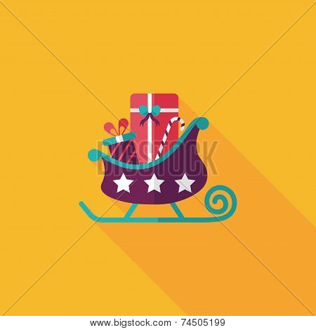 Christmas Sleigh Gift Flat Icon With Long Shadow,