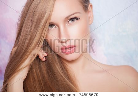 Beautiful blonde hair, portrait of an young girl