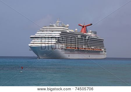 Carnival Dream Cruise Ship anchors at the Port of George Town, Grand Cayman