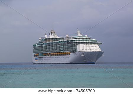 Royal Caribbean Freedom of the Seas Cruise Ship anchors at Port of George Town, Grand Cayman