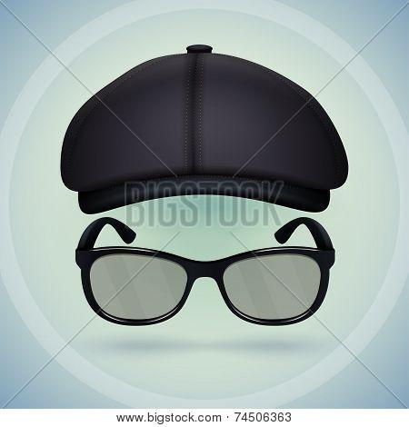 Black cap and eyeglasses.