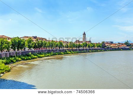View To Verona With River Adige