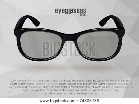 Strict eyeglasses in black and white.