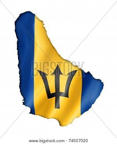 Barbados Flag Map