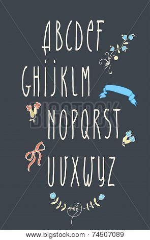 Decorative Vector Alphabet And Floral Elements
