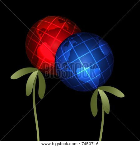 Abstract plants globes