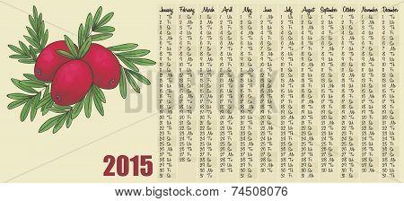 2015 calendar with cranberry