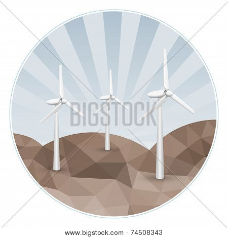 Three wind turbines on rocks.