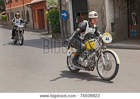 Biker Riding An Old Italian Bike Rumi Ss Tt