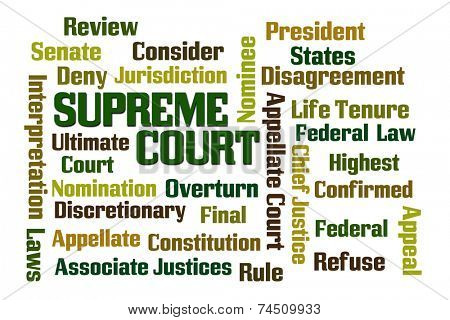 Supreme Court word cloud on white background