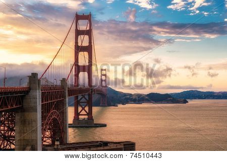 Sunset over the Golden Gate Bridge.