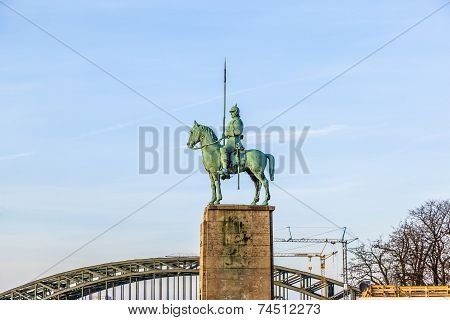 Equestrian Statue On The Hohenzollern Bridge