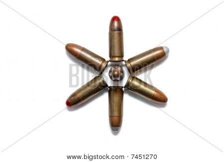 Six-pointed star made of 9mm cartridges isolated