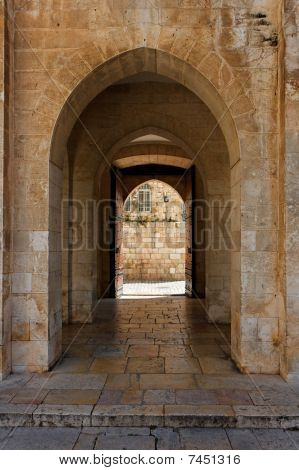 Ancient stone arch in Jerusalem Old City