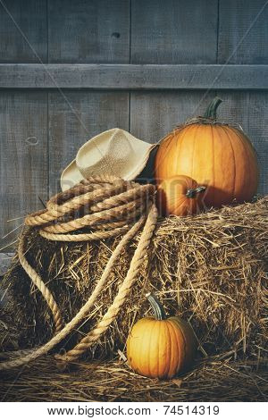 Pumpkins with rope and hat on a bale of hay