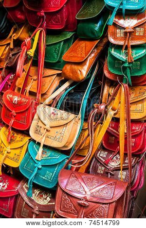 Colorful Leather Handbags Collection On Tunis Market