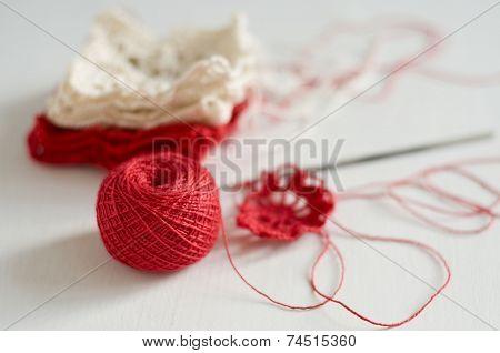 Crocheting A Flower Pattern In Red
