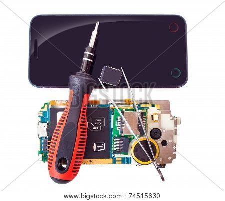 Tools And Disassembled Phone