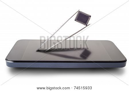 Tweezers With A Piece Of The Phone