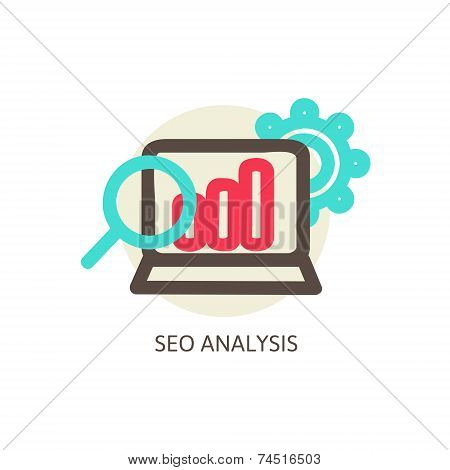 SEO analysis process vector concept