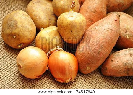 Whole Harvested Potatoes And Onions