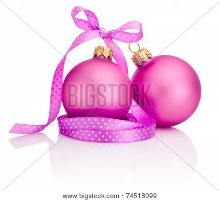 Two Pink Christmas Balls With Ribbon Bow Isolated On White Background