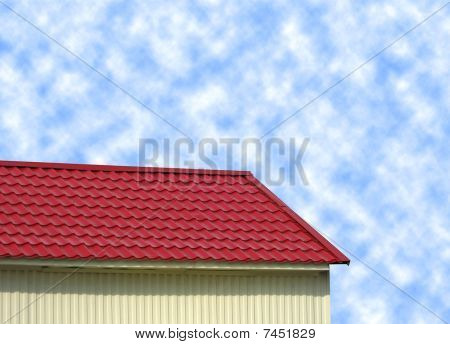Red Tile Roof On Blue Sky, Construction Contrast.