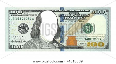 New Hundred Dollars Bill, No Face, Clipping Path
