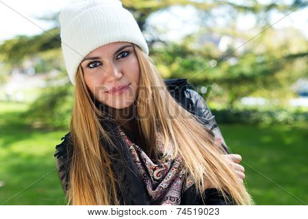 Fashion Portrait Of Beautiful Girl In The City.