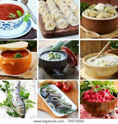 collage menu of Russian and Ukrainian food (dumplings, borsch, okroshka, herring)