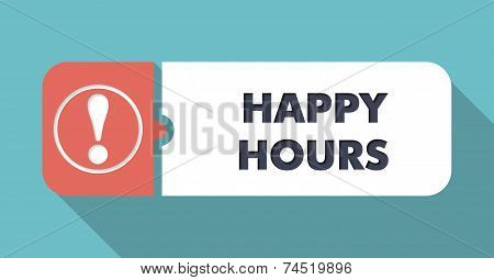 Happy Hours on Turquoise in Flat Design.